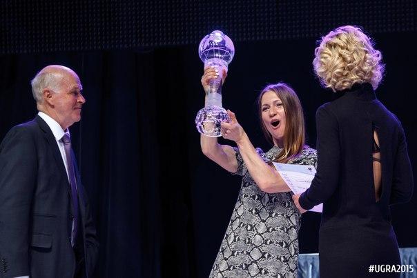 Дарья Домрачева получает хрустальный глобус в Ханты-Мансийске