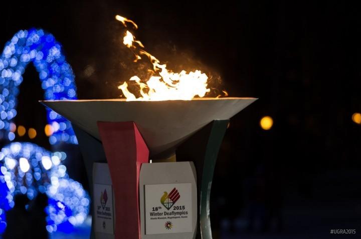 Сурдлимпийский огонь церемония закрытия игр в Ханты-Мансийске