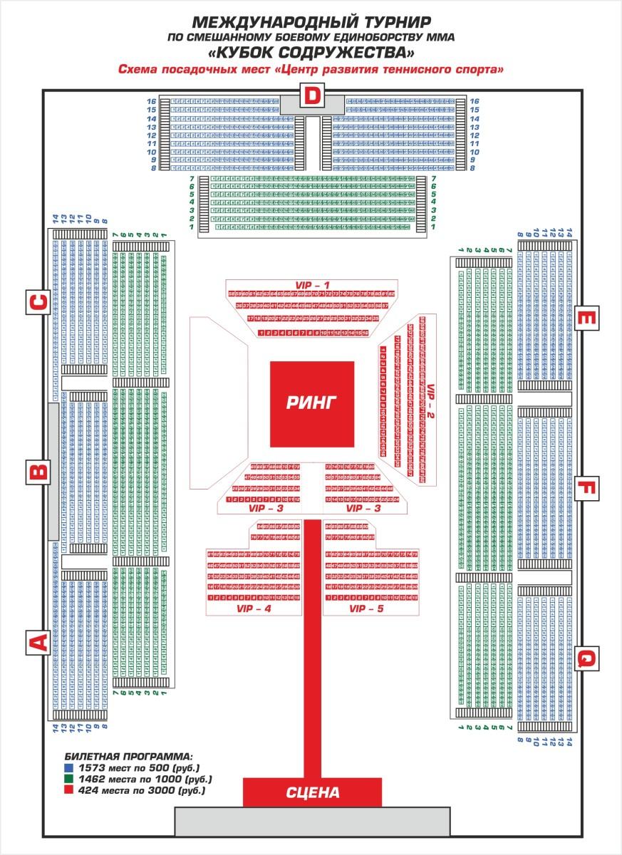 Схема посадочных мест Центра Развития тенисного спорта Ханты-Мансийск