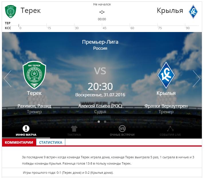 Терек - Крылья Советов 31 июля 2016 года