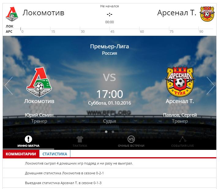 Локомотив - Арсенал Тула 1 октября 2016 года