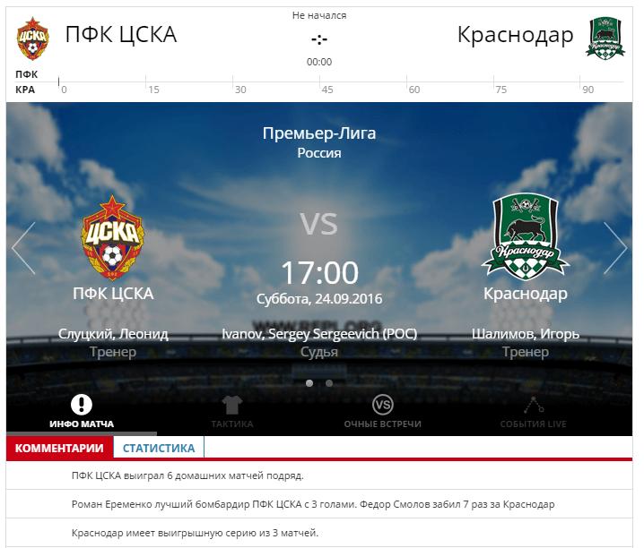 ЦСКА - Краснодар 24 сентября 2016