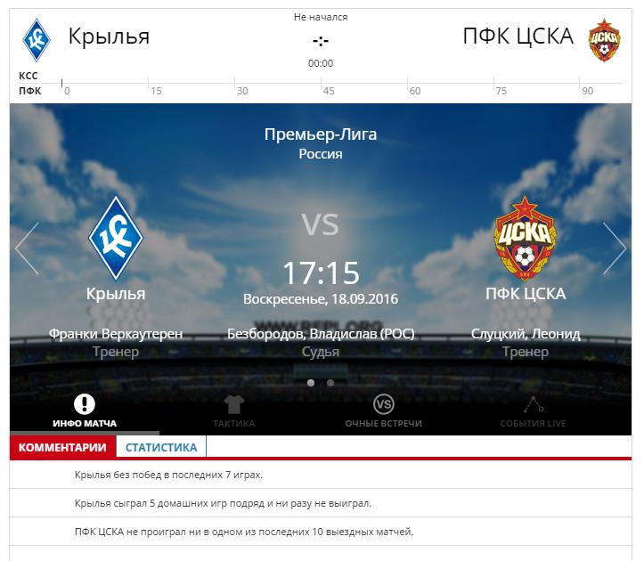 Крылья Советов - ЦСКА 18 сентября 2016 года