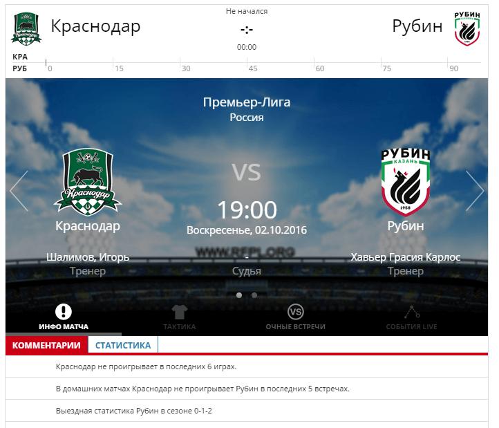 Краснодар - Рубин 2 октября 2016 года