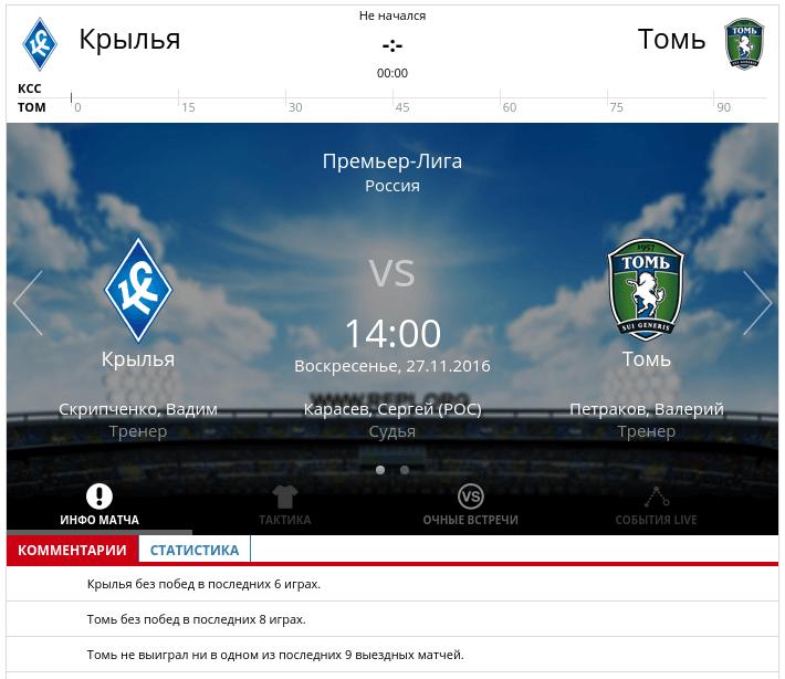 Крылья Советов - Томь 27 ноября 2016 года