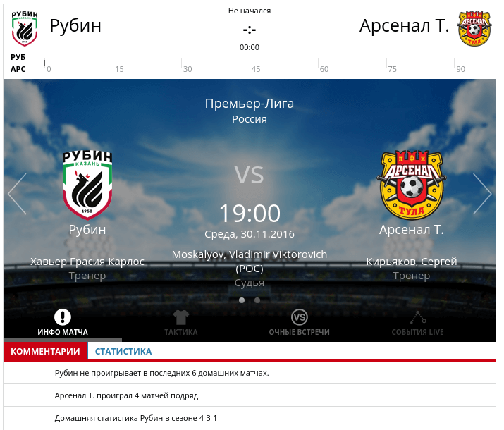 Рубин - Арсенал Тула 30 ноября 2016 года