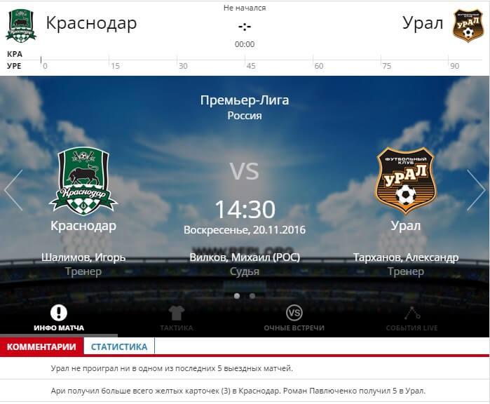 Краснодар – Урал 20 ноября 2016 года РФПЛ
