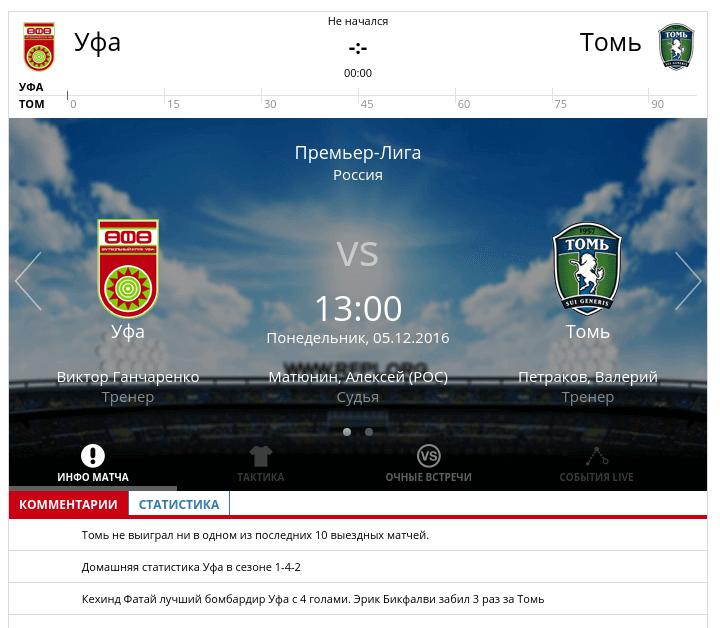 Уфа - Томь 5 декабря 2016 года