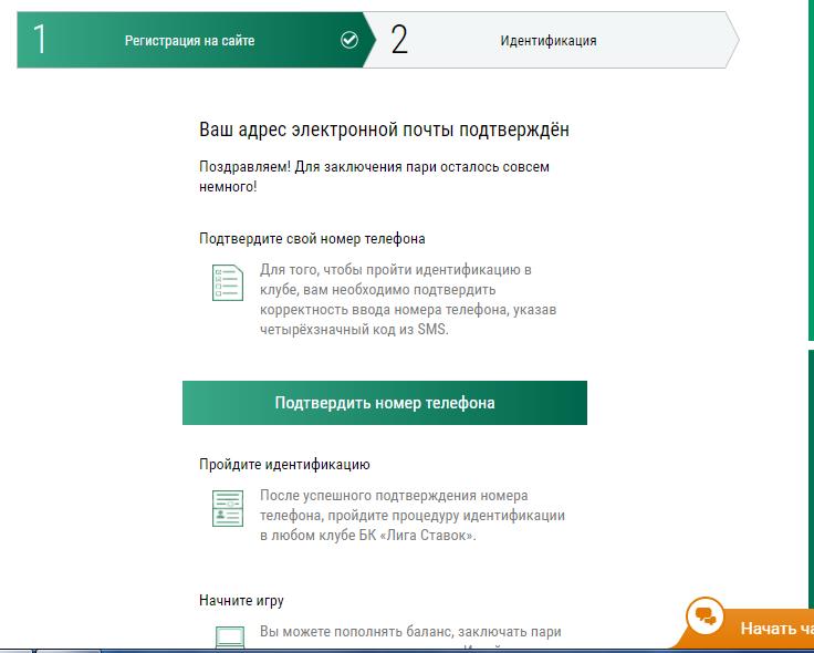 Скриншот дальнейших шагов после регитрации