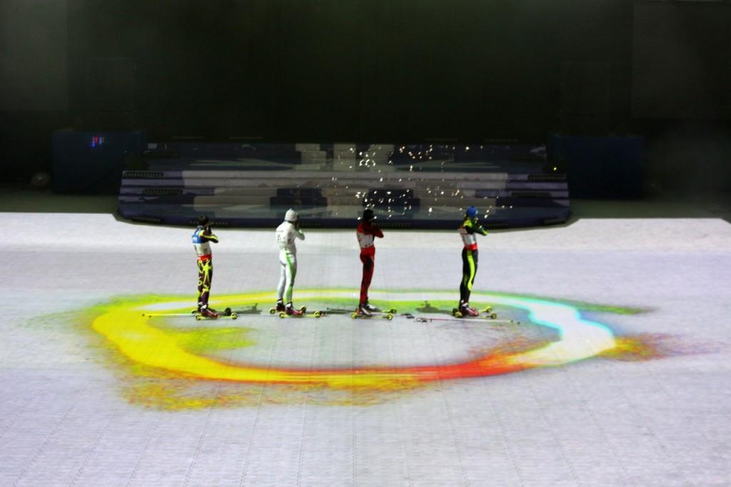 видеоинсталляция с участием четырех биатлонистов