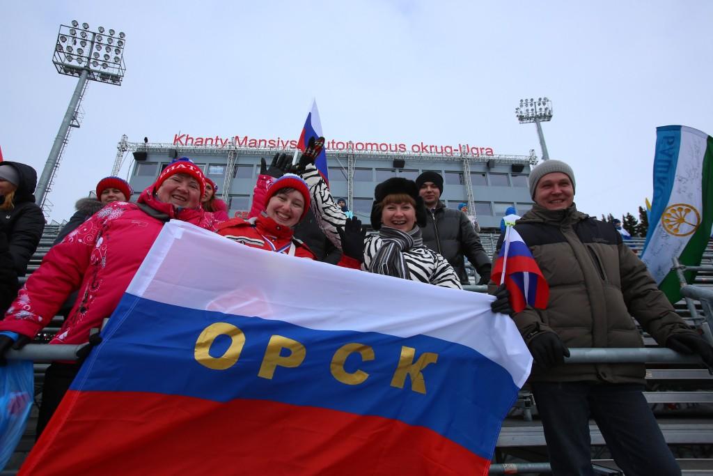 Болельщики из Орска на биатлонном центре им. А.В, Филипенко
