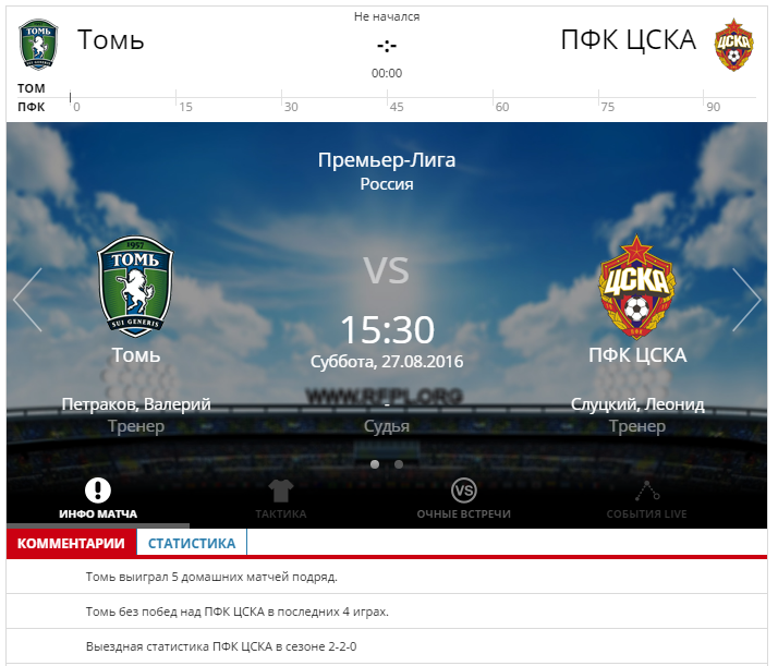 Томь - ЦСКА Москва 27 августа 2016