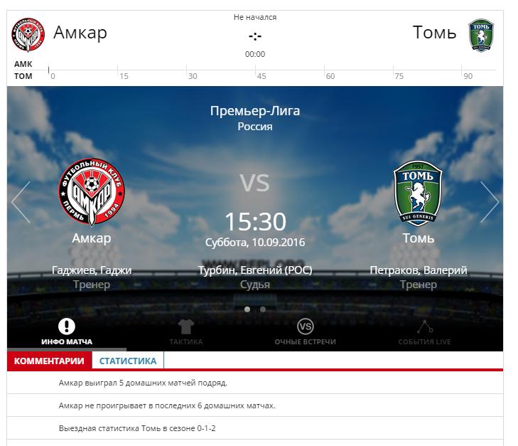 Амкар - Томь 10 сентября 2016