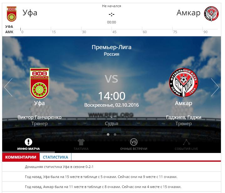 Уфа - Амкар 1 октября 2016 года