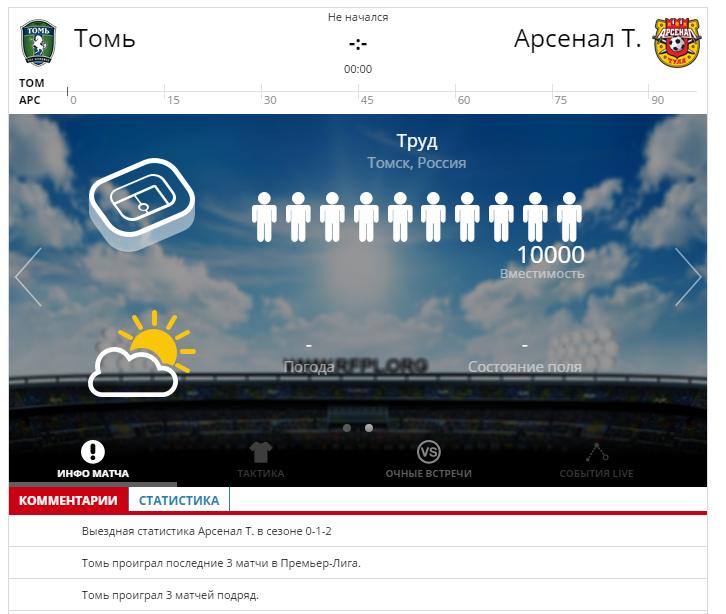 Томь - Арсенал Тула 17 сентября 2016