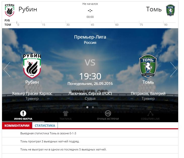 Рубин - Томь 26 сентября 2016 года