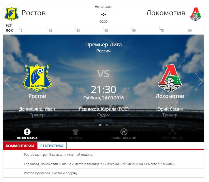 Ростов - Локомотив 24 сентября 2016 года