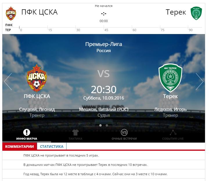 ЦСКА - Терек 10 сентября 2016