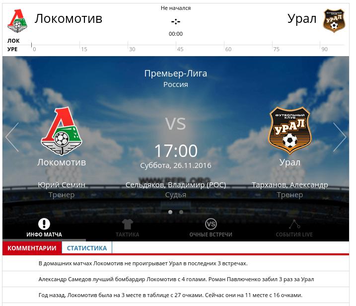 Локомотив - Урал 26 ноября 2016 года