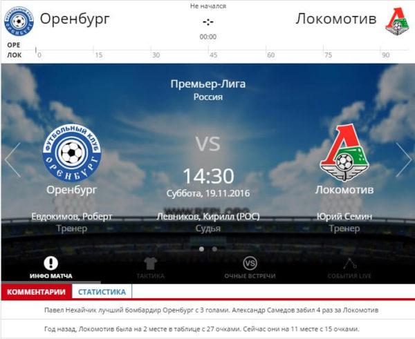 Оренбург – Локомотив 19 ноября 2016 года РФПЛ