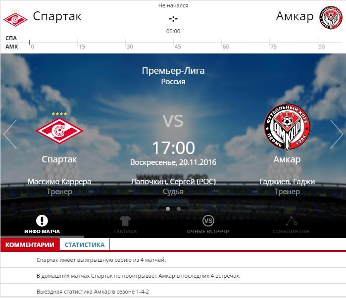 Спартак Москва – Амкар 20 ноября 2016 года РФПЛ