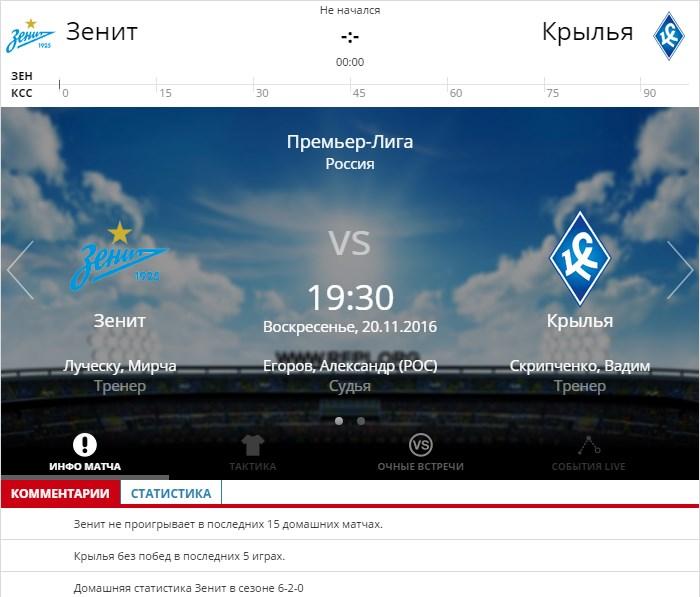 Зенит – Крылья Советов 20 ноября 2016 года РФПЛ